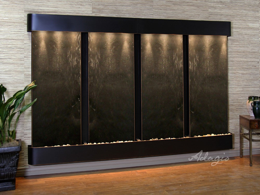 Wall Fountain - Regal Falls - Black FeatherStone - Blackened Copper - Rounded - rfr15112