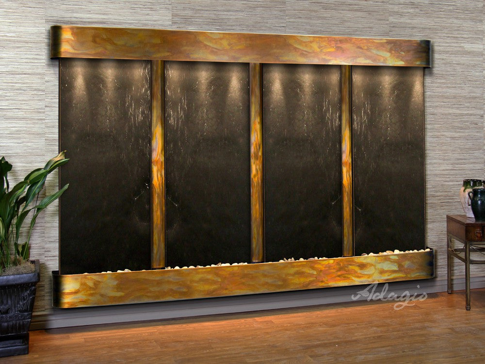 Wall Fountain - Regal Falls - Black FeatherStone - Rustic Copper - Rounded - rfr10112