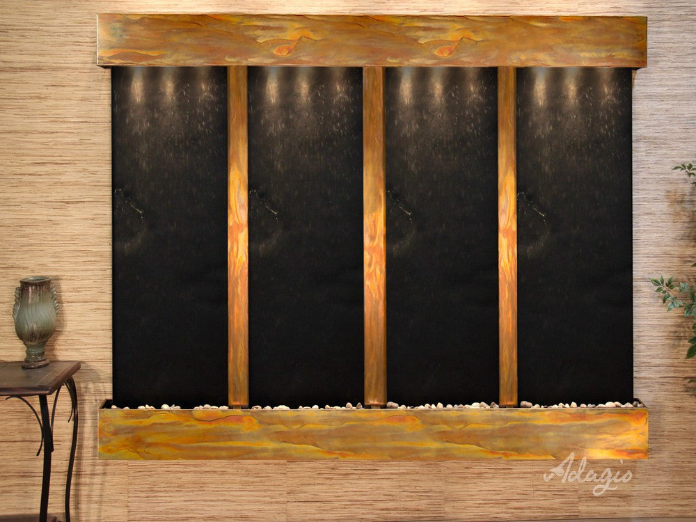 Wall Fountain - Regal Falls - Black FeatherStone - Rustic Copper - Squared - rfs10112