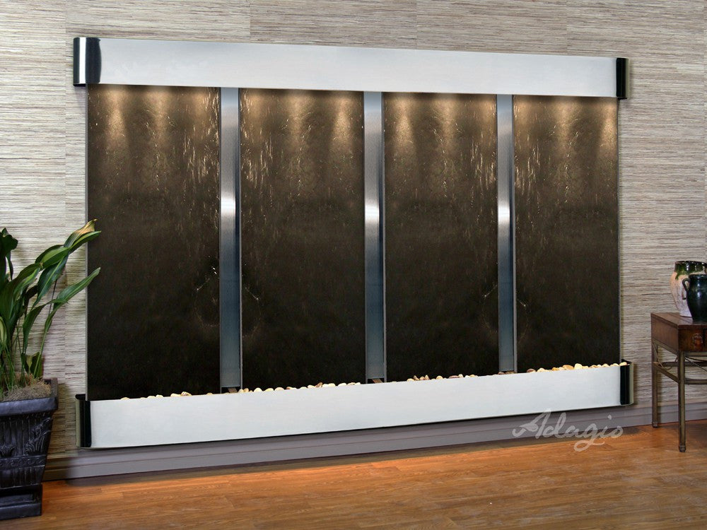 Wall Fountain - Regal Falls - Black FeatherStone - Stainless Steel - Rounded - rfr20112