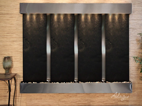 Wall Fountain - Regal Falls - Black FeatherStone - Stainless Steel - Squared - rfs20112