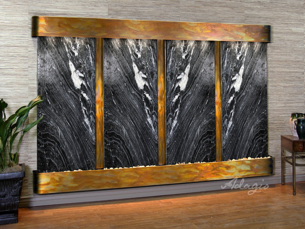 Wall Fountain - Regal Falls - Black Spider Marble - Rustic Copper - Rounded - rfr10072
