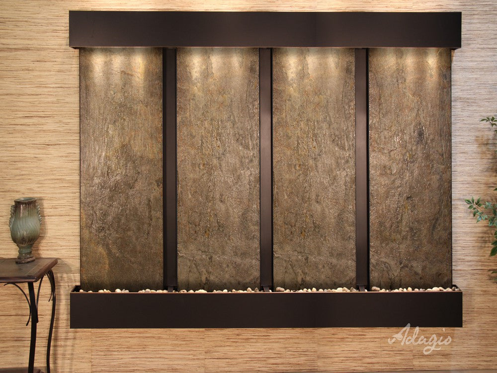 Wall Fountain - Regal Falls - Green FeatherStone - Blackened Copper - Squared - rfs15122