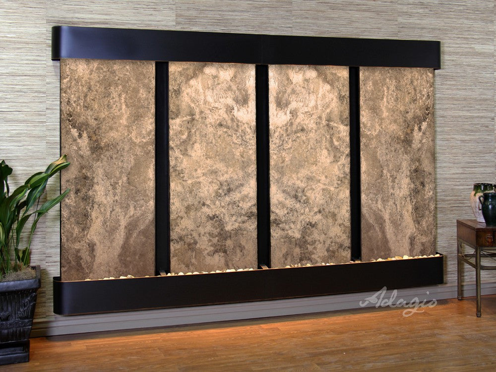 Wall Fountain - Regal Falls - Magnifico Travertine - Blackened Copper - Rounded - rfr15082