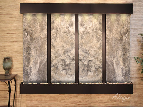 Wall Fountain - Regal Falls - Magnifico Travertine - Blackened Copper - Squared - rfs15082