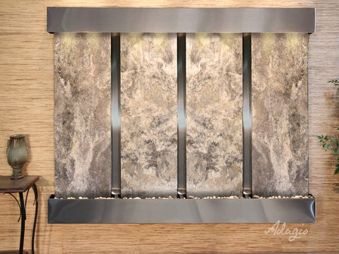 Wall Fountain - Regal Falls - Magnifico Travertine - Stainless Steel - Squared - rfs20082
