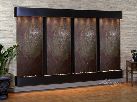 Wall Fountain - Regal Falls - Multi-Color FeatherStone - Blackened Copper - Rounded - rfr15142