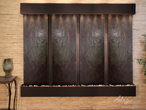 Wall Fountain - Regal Falls - Multi-Color FeatherStone - Blackened Copper - Squared - rfs15142