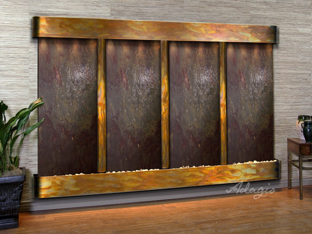 Wall Fountain - Regal Falls - Multi-Color FeatherStone - Rustic Copper - Rounded - rfr10142