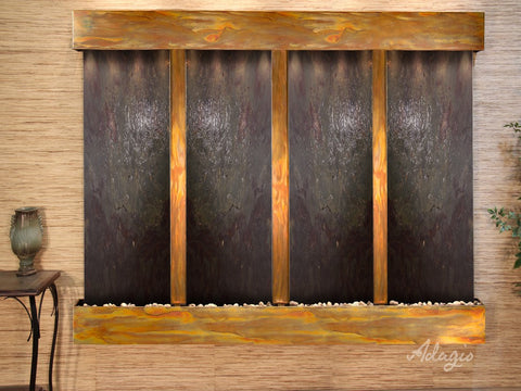 Wall Fountain - Regal Falls - Multi-Color FeatherStone - Rustic Copper - Squared - rfs10142