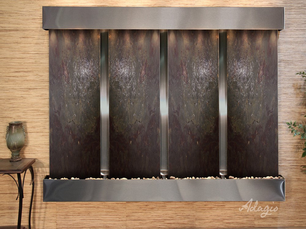 Wall Fountain - Regal Falls - Multi-Color FeatherStone - Stainless Steel - Squared - rfs20142