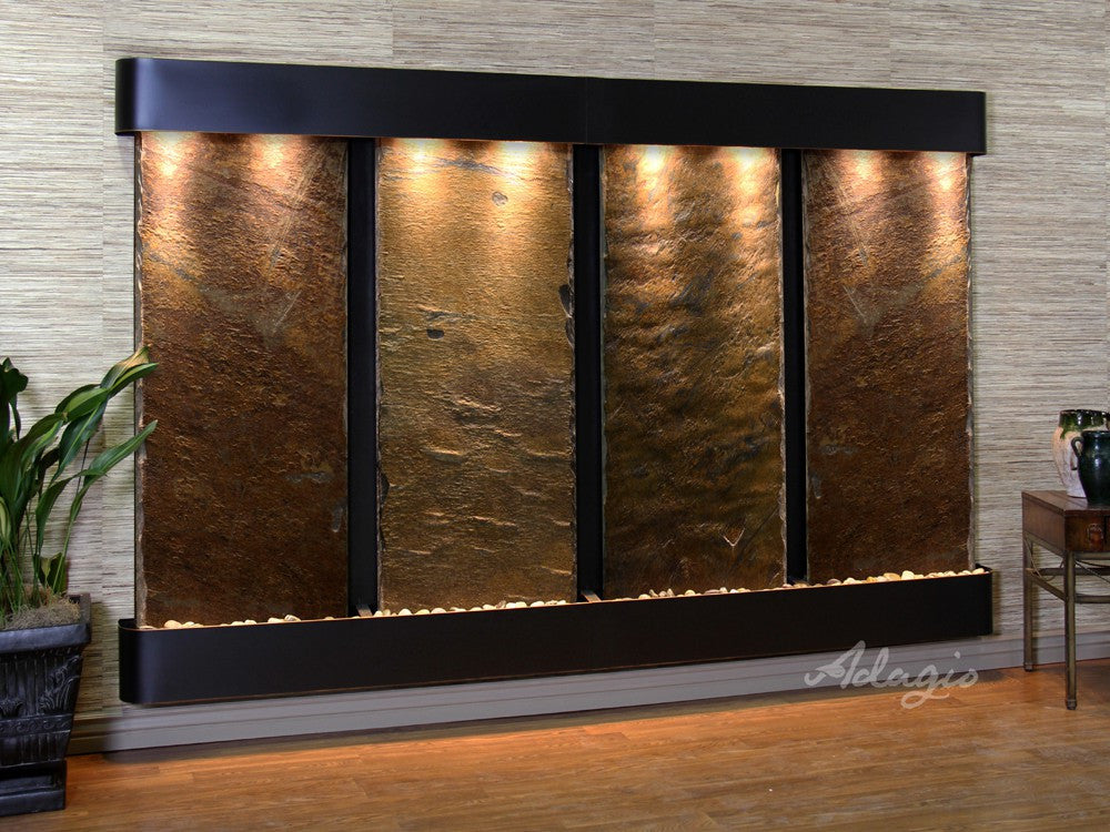 Wall Fountain - Regal Falls - Multi-Color Slate - Blackened Copper - Rounded - rfr15042
