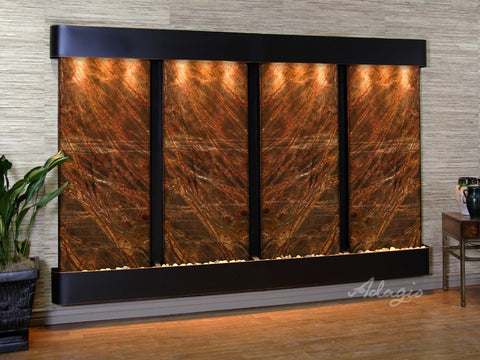 Wall Fountain - Regal Falls - Rainforest Brown Marble - Blackened Copper - Rounded - rfr15062