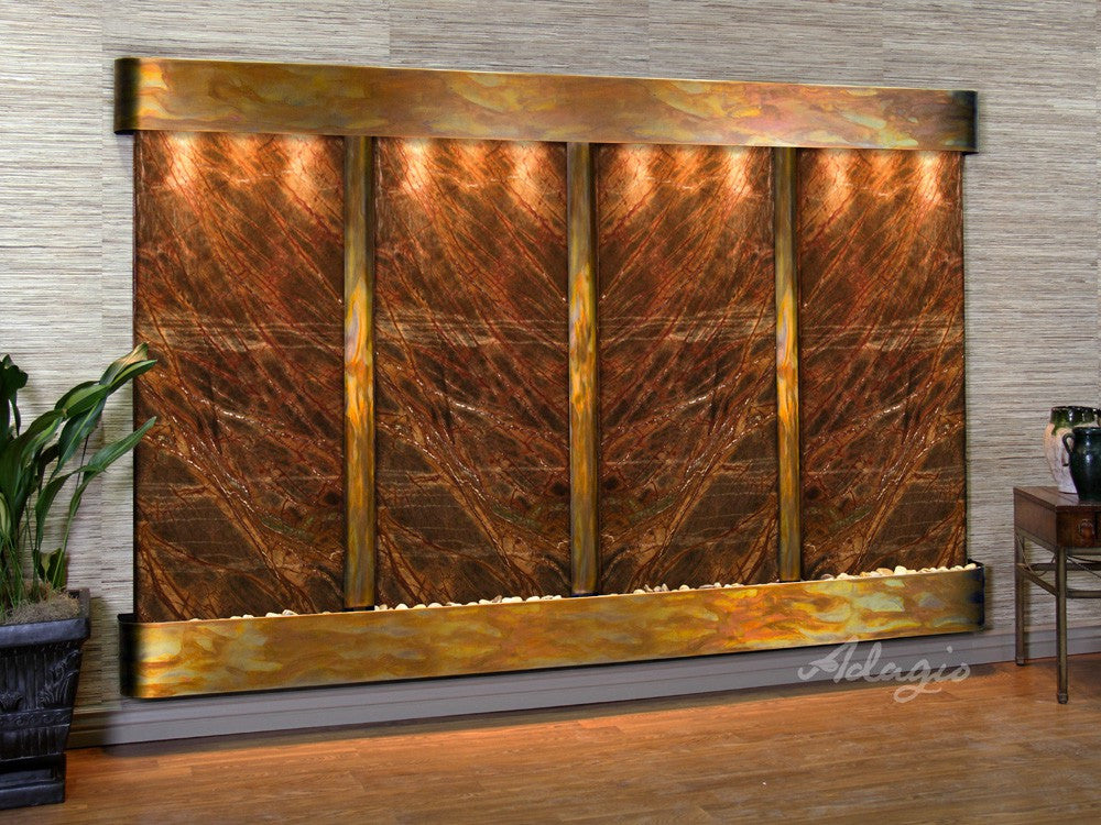 Wall Fountain - Regal Falls - Rainforest Brown Marble - Rustic Copper - Rounded - rfr10062