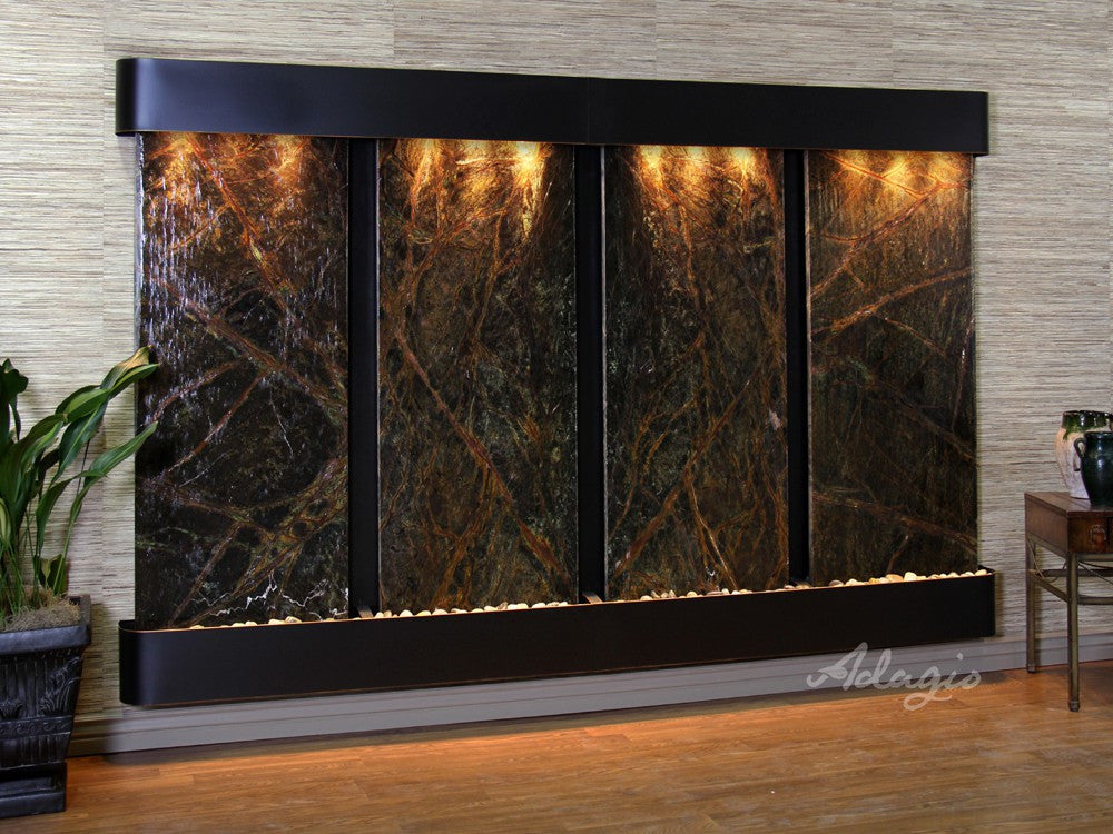 Wall Fountain - Regal Falls - Rainforest Green Marble - Blackened Copper - Rounded - rfr15052