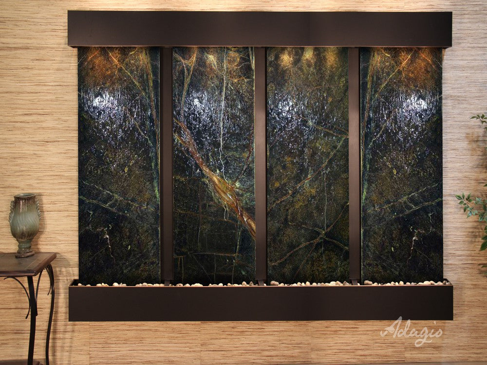 Wall Fountain - Regal Falls - Rainforest Green Marble - Blackened Copper - Squared - rfs15052