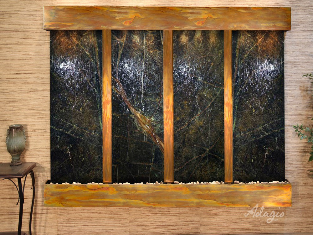 Wall Fountain - Regal Falls - Rainforest Green Marble - Rustic Copper - Squared - rfs10052