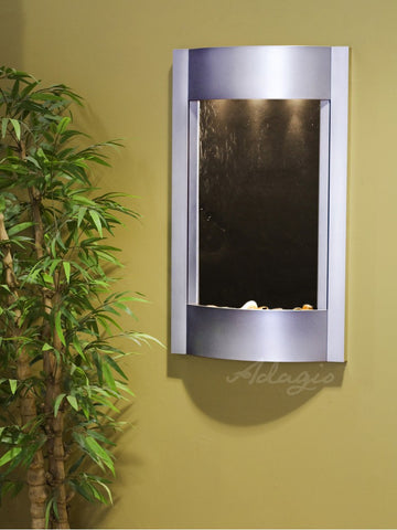 Wall Fountain - Serene Waters - Black FeatherStone - Silver Metallic - swa4511