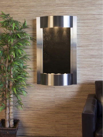 Wall Fountain - Serene Waters - Black FeatherStone - Stainless Steel - swa2011