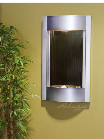Wall Fountain - Serene Waters - Bronze Mirror - Silver Metallic - swa45412