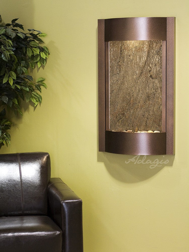 Wall Fountain - Serene Waters - Green FeatherStone - Copper Vein - swa5012