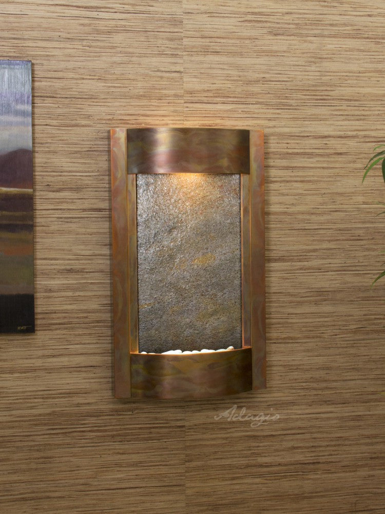 Wall Fountain - Serene Waters - Green FeatherStone - Rustic Copper - swa1012
