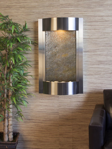 Wall Fountain - Serene Waters - Green FeatherStone - Stainless Steel - swa2012