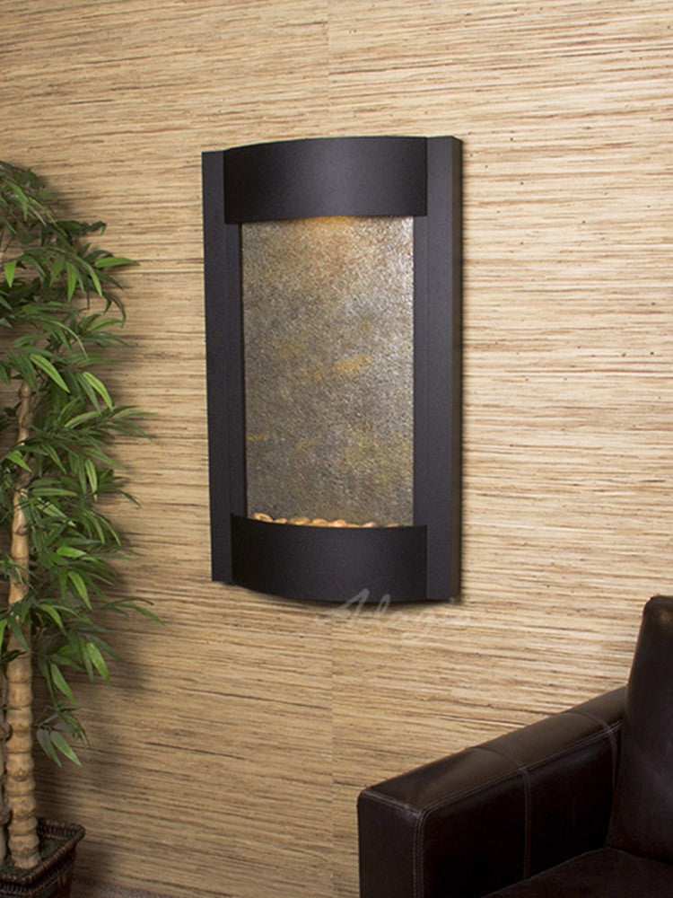 Wall Fountain - Serene Waters - Green FeatherStone - Textured Black - swa17122