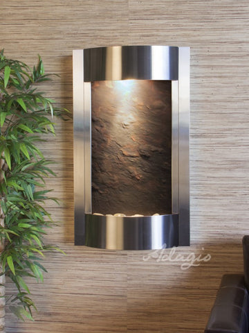 Wall Fountain - Serene Waters - Multi-Color FeatherStone - Stainless Steel - swa20142