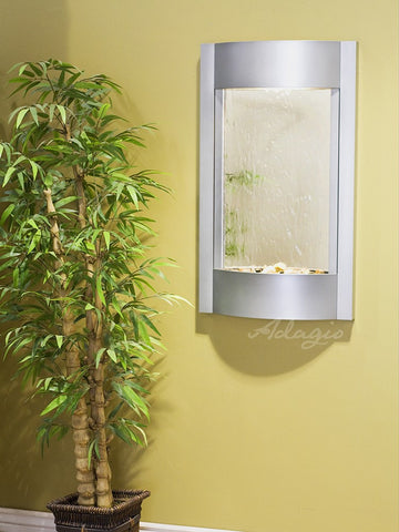 Wall Fountain - Serene Waters - Silver Mirror - Silver Metallic - swa4540