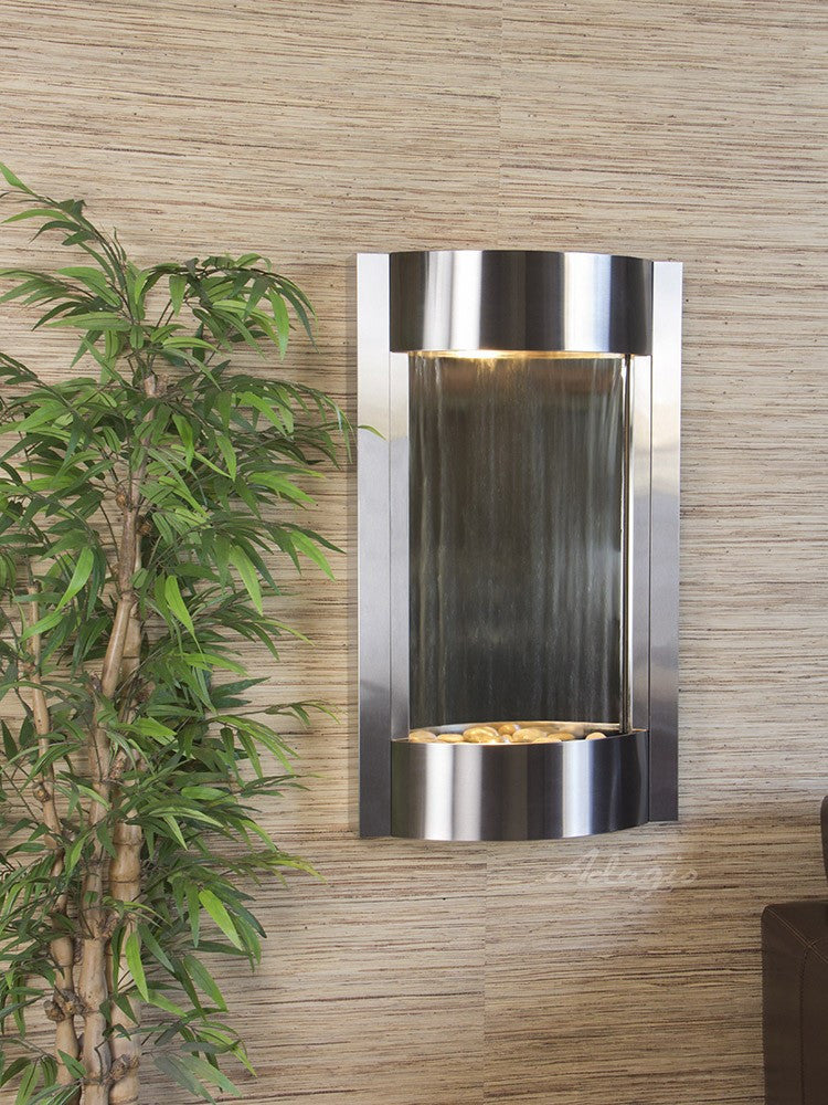 Wall Fountain - Serene Waters - Silver Mirror - Stainless Steel - swa20401