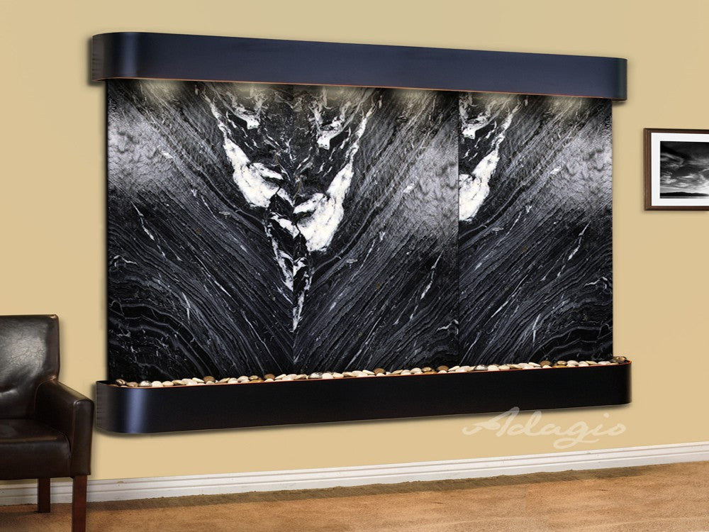 Wall Fountain - Solitude River - Black Spider Marble - Blackened Copper - Rounded - srr15072
