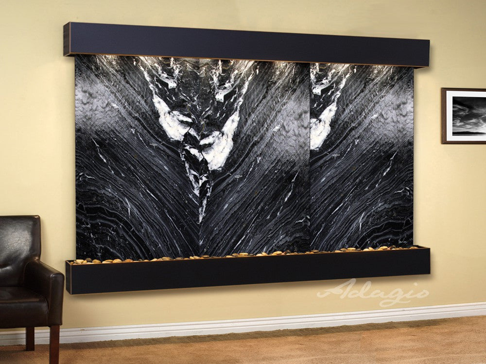 Wall Fountain - Solitude River - Black Spider Marble - Blackened Copper - Squared - srs15072