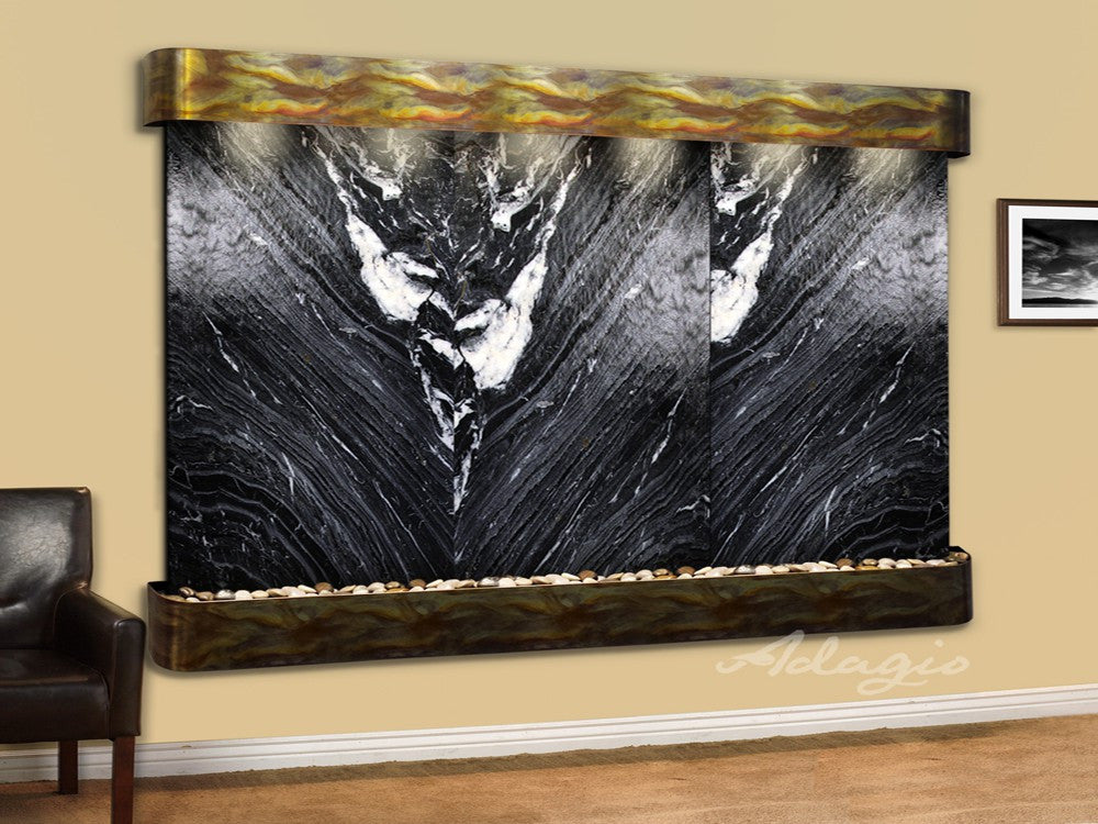 Wall Fountain - Solitude River - Black Spider Marble - Rustic Copper - Rounded - srr1007a