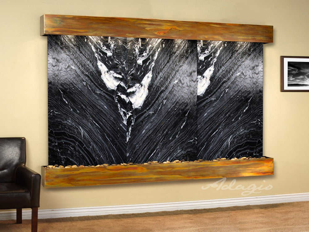 Wall Fountain - Solitude River - Black Spider Marble - Rustic Copper - Squared - srs10072