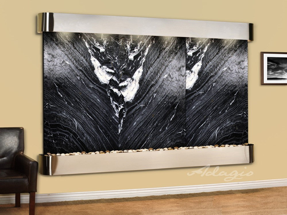 Wall Fountain - Solitude River - Black Spider Marble - Stainless Steel - Rounded - srr20072