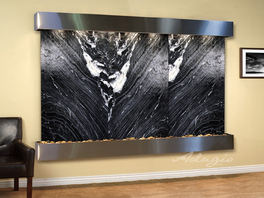 Wall Fountain - Solitude River - Black Spider Marble - Stainless Steel - Squared - srs20072