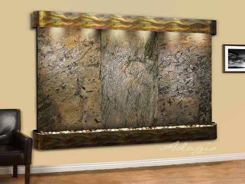 Wall Fountain - Solitude River - Green Slate - Rustic Copper - Rounded - srr1002a