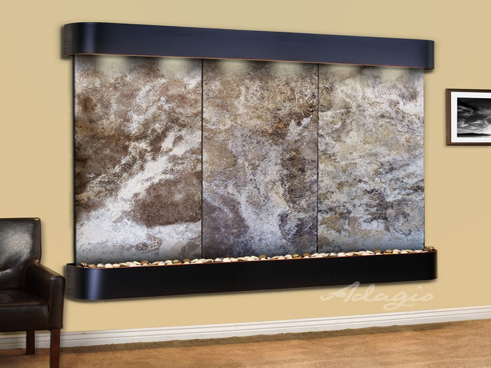 Wall Fountain - Solitude River - Magnifico Travertine - Blackened Copper - Rounded - srr15082
