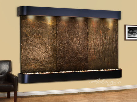 Wall Fountain - Solitude River - Multi-Color Slate - Blackened Copper - Rounded - srr1504a