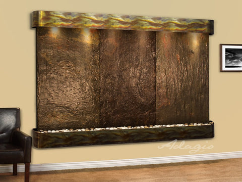 Wall Fountain - Solitude River - Multi-Color Slate - Rustic Copper - Rounded - srr1004a