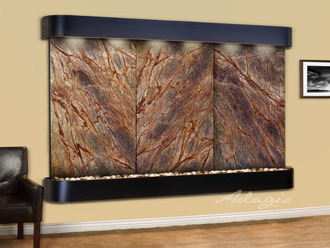 Wall Fountain - Solitude River - Rainforest Brown Marble - Blackened Copper - Rounded - srr15062