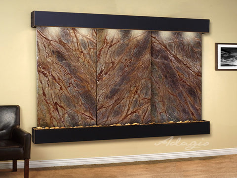Wall Fountain - Solitude River - Rainforest Brown Marble - Blackened Copper - Squared - srs15062