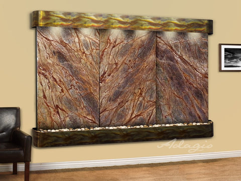 Wall Fountain - Solitude River - Rainforest Brown Marble - Rustic Copper - Rounded - srr1006a