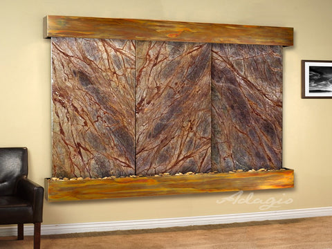 Wall Fountain - Solitude River - Rainforest Brown Marble - Rustic Copper - Squared - srs10062