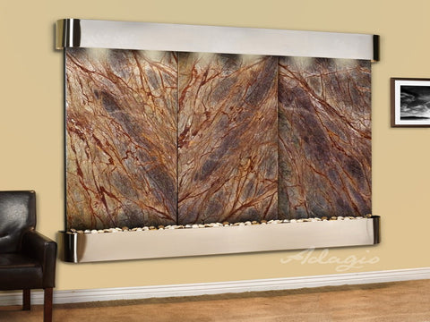 Wall Fountain - Solitude River - Rainforest Brown Marble - Stainless Steel - Rounded - srr20062