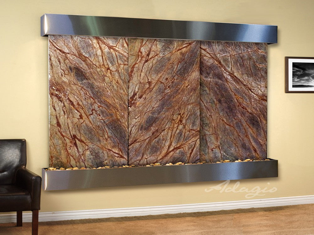 Wall Fountain - Solitude River - Rainforest Brown Marble - Stainless Steel - Squared - srs20062