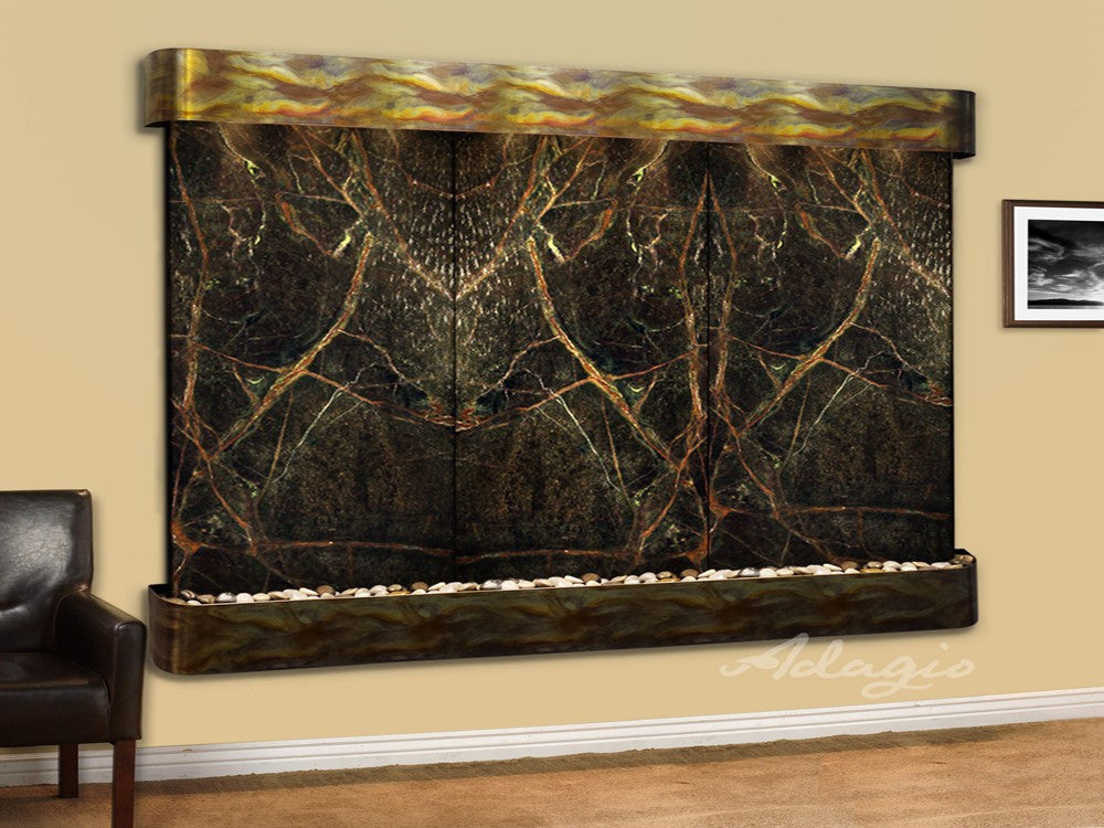Wall Fountain - Solitude River - Rainforest Green Marble - Rustic Copper - Rounded - srr1005a
