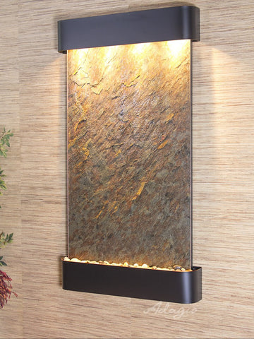 Wall Fountain - Summit Falls - Green FeatherStone - Blackened Copper - Rounded - sfr1512