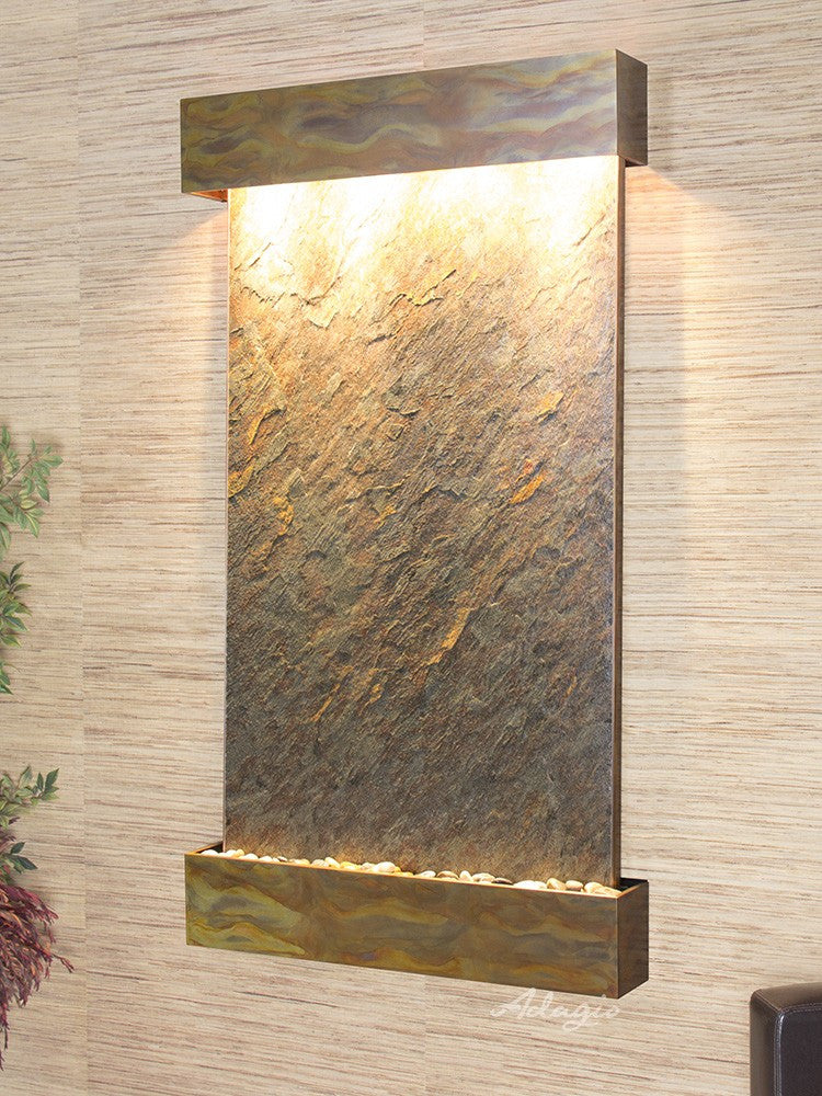 Wall Fountain - Summit Falls - Green FeatherStone - Rustic Copper - Squared - sfs1012